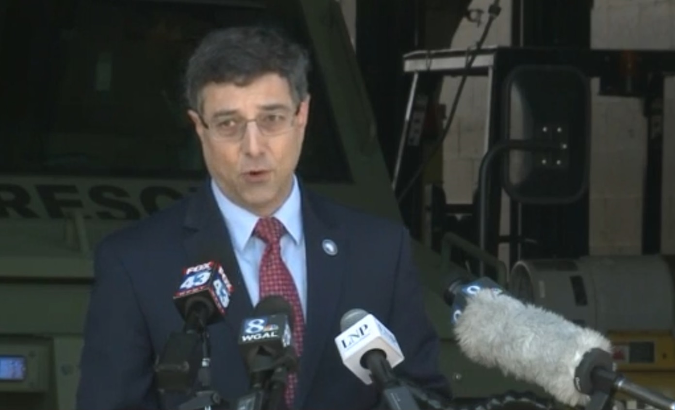 Lancaster County Commissioner Ray D'Agostino speaks at a press conference on Wednesday, April 22, 2020. (Source: WGAL)