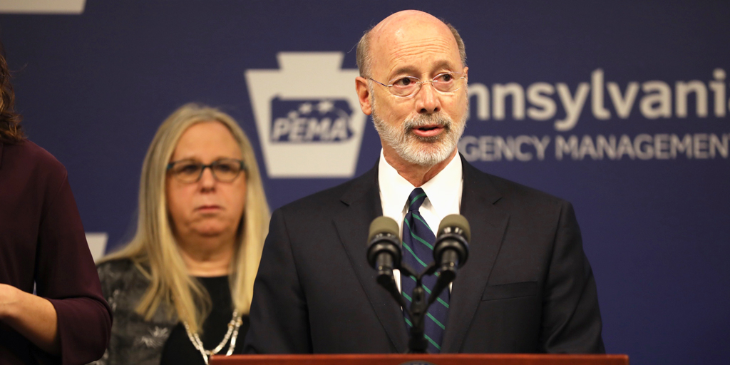 Pennsylvania Gov. Tom Wolf, foreground, and Health Secretary Dr. Rachel Levine (Source: Commonwealth of PA)