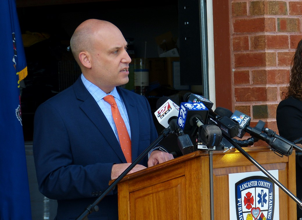 Dr. Michael Ripchinski, chief clinical officer for Penn Medicine Lancaster General Health, speaks at a news conference at the Lancaster County Public Safety Training Center on Tuesday, April 28, 2020.  (Photo: Tim Stuhldreher)