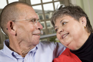 Closeup of Senior Adult Couple Looking at Each Other.