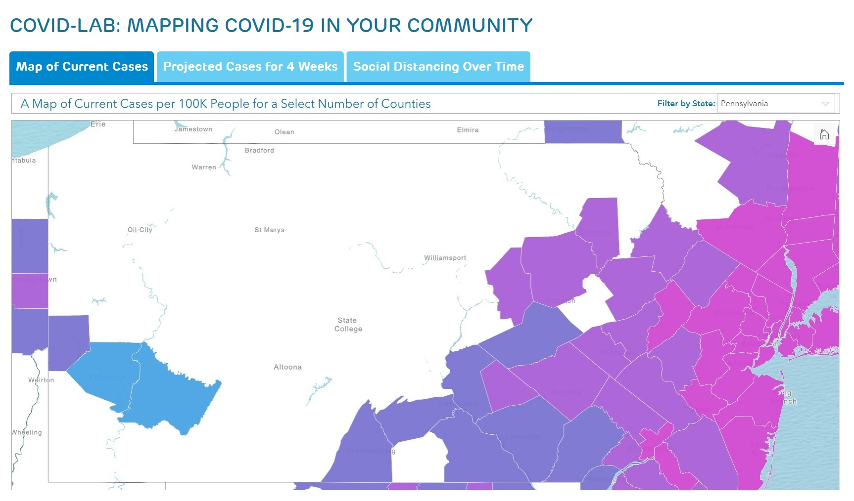 "A screen shot of ""Mapping Covid-19 in Your Community."" The counties in color are those being tracked by the project; the shades reflect cases per 100,000 population. (Source: PolicyLab, Children's Hospital of Philadelphia)"