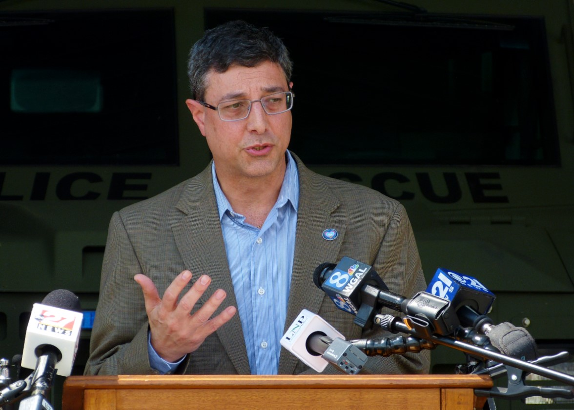County Commissioner Ray D'Agostino speaks during a news briefing at the Lancaster County Public Safety Training Center on Friday, May 29, 2020. (Photo: Tim Stuhldreher)