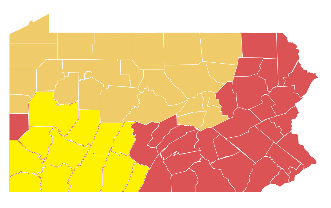 "Counties in dark yellow moved to Pennsylvania's ""yellow phase"" of reopening on Friday, May 8, 2020. The ones in bright yellow are scheduled to shift on May 15."