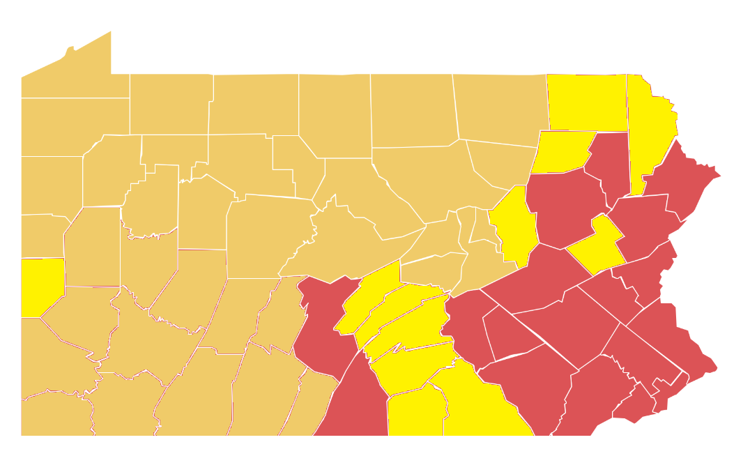 "Counties in dark yellow moved to Pennsylvania's ""yellow phase"" of reopening on May 15, 2020, or before. The ones in bright yellow are scheduled to shift on May 22."