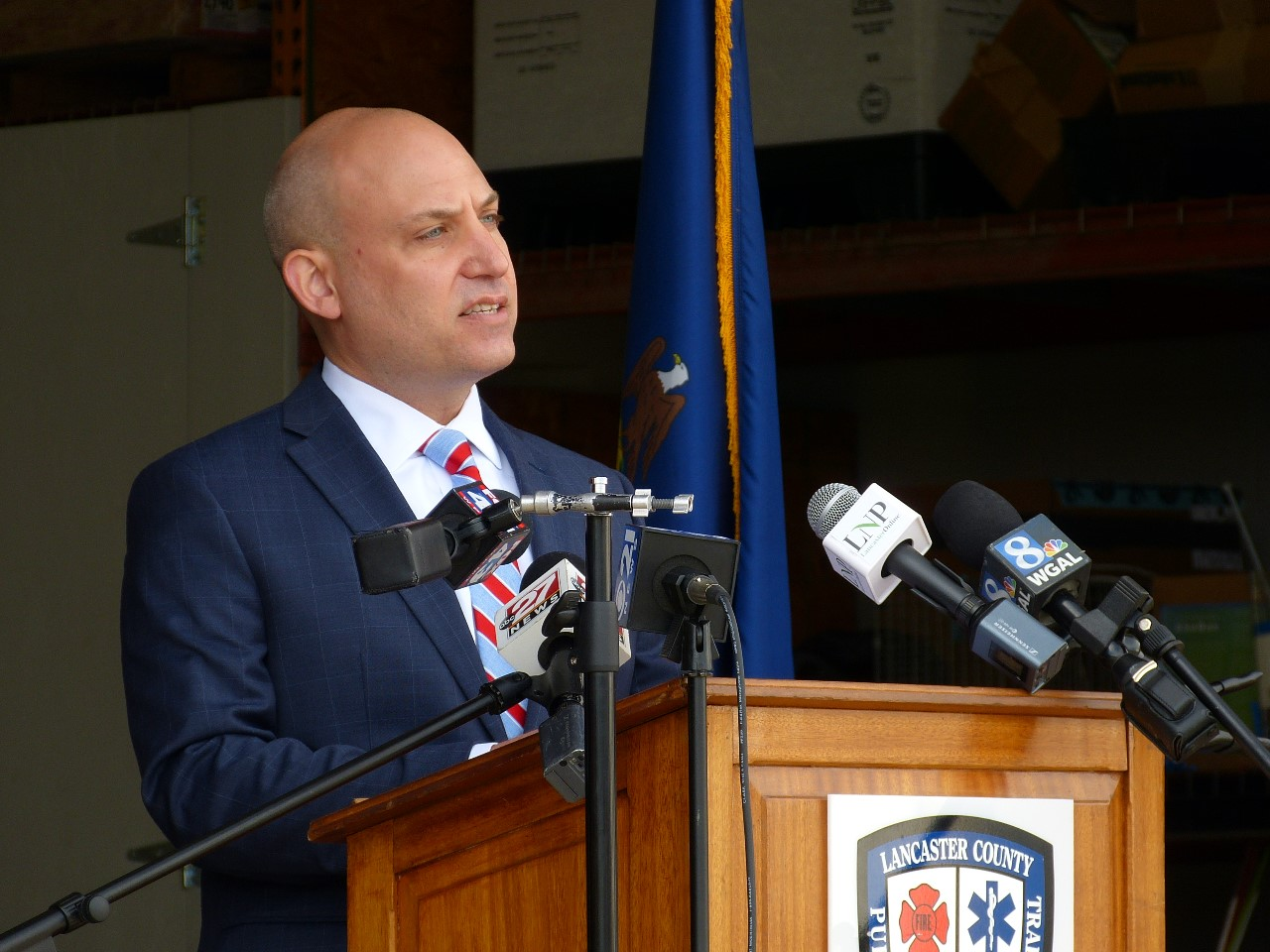 Dr. Michael Ripchinski, chief clinical officer for Penn Medicine Lancaster General Health, speaks at a news conference at the Lancaster County Public Safety Training Center on Tuesday, May 5, 2020.  (Photo: Tim Stuhldreher)
