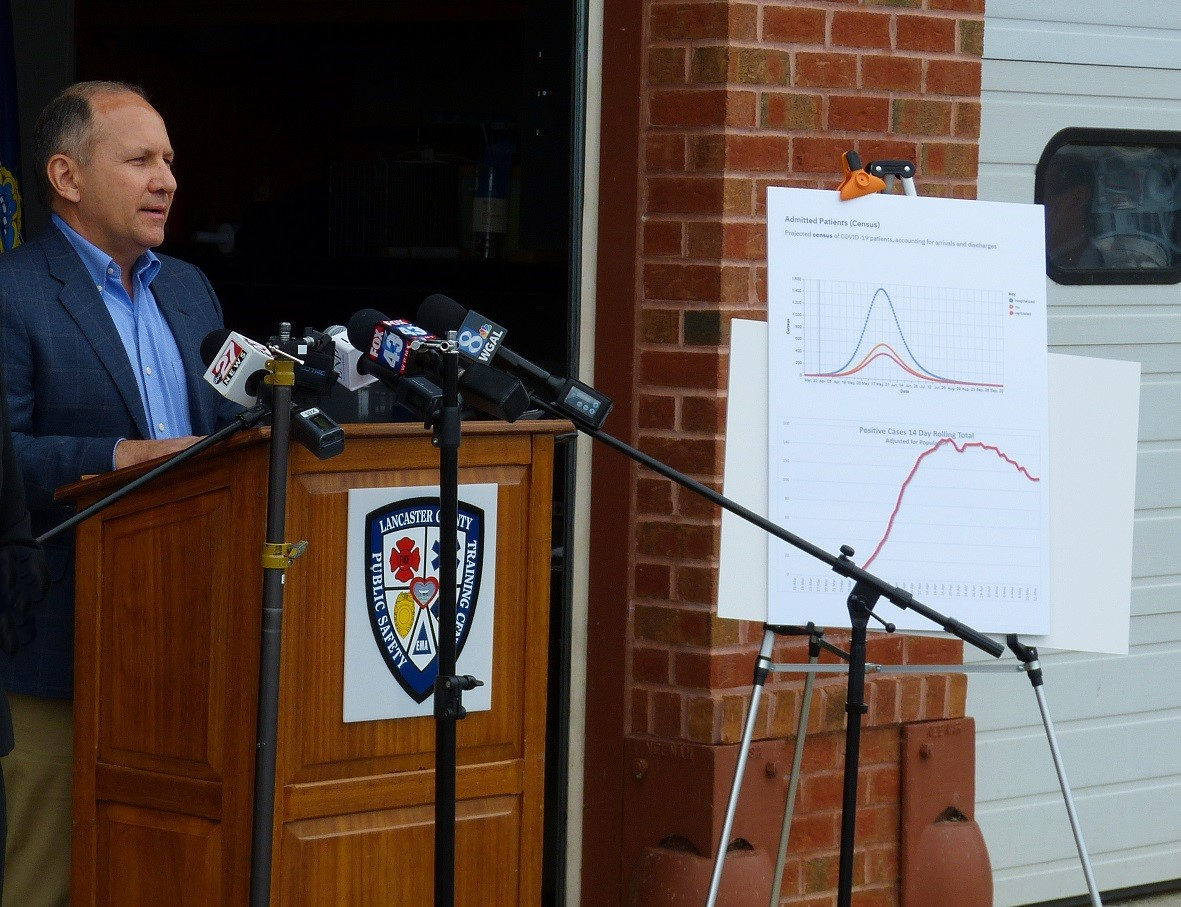 U.S. Rep. Lloyd Smucker speaks to reporters during a news conference at the Lancaster County Public Safety Training Center on Thursday, May 14, 2020. At right are charts showing initial projections for Covid-19 hospital admissions, top, and the actual rolling 14-day average of cases in Lancaster County, bottom. (Photo: Tim Stuhldreher)