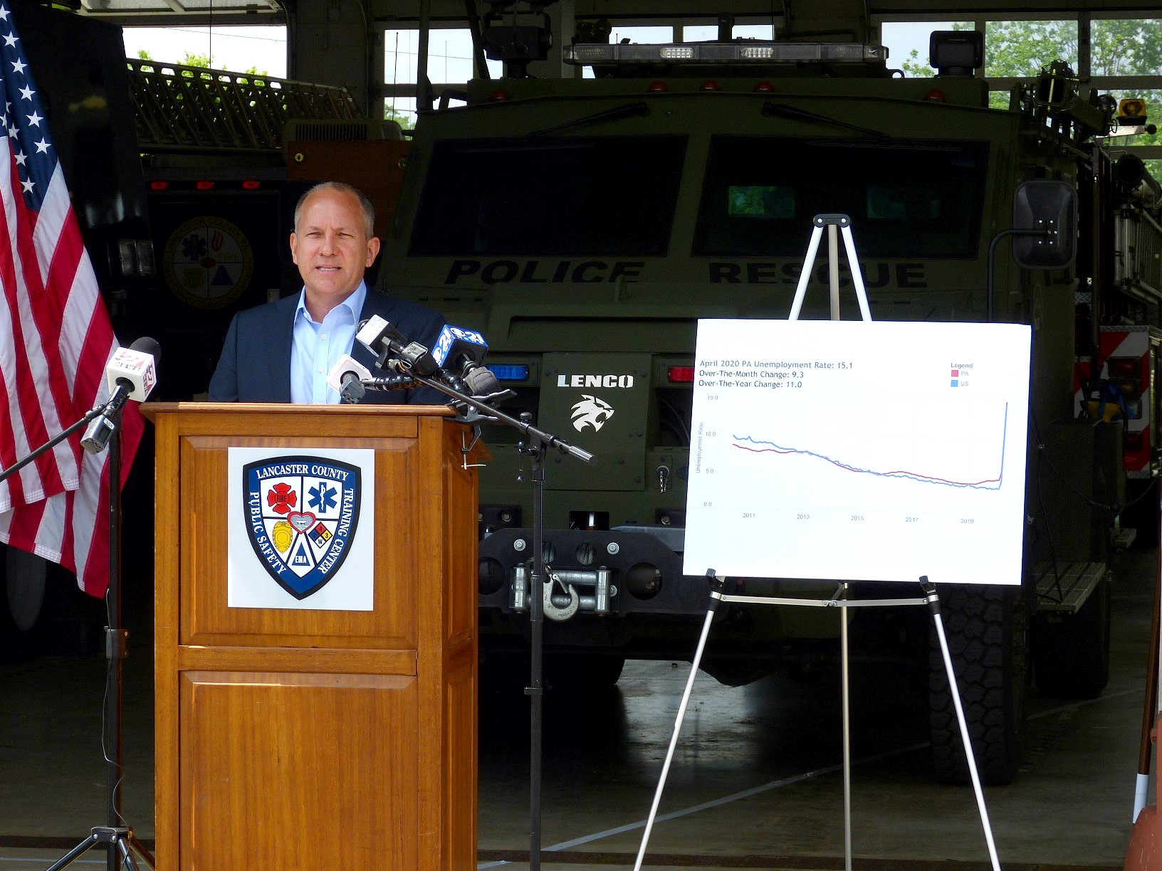 U.S. Rep. Lloyd Smucker speaks at a news briefing at the Lancaster County Public Safety Training Center on Friday, May 29, 2020. At his right is a chart showing Pennsylvania and U.S. unemployment rates.  (Photo: Tim Stuhldreher)