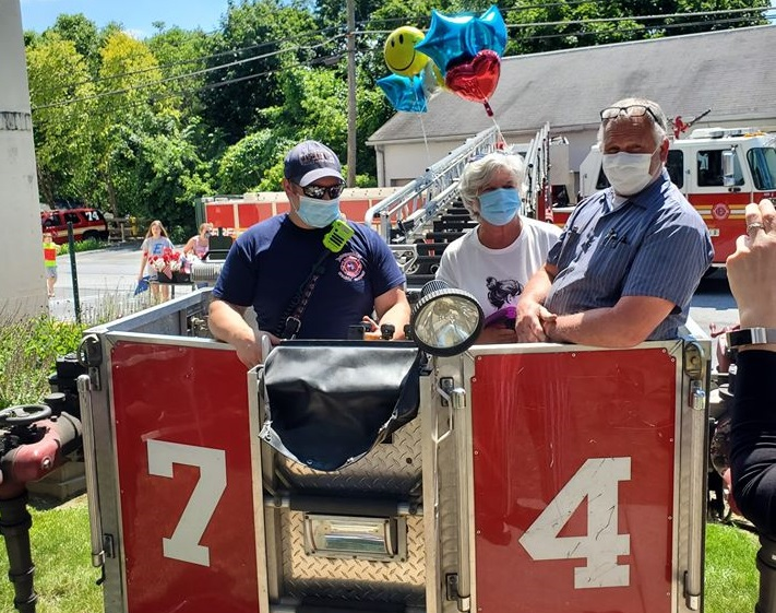 The Elizabethtown Fire Department provides a bucket lift for families to visit loved ones at Elizabethtown Manor on Wednesday, June 24, 2020. (Source: Elizabethtown FD)