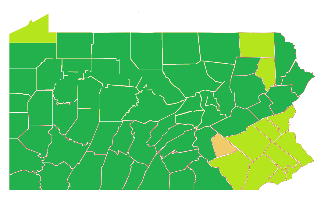 "Twelve Pennsylvania counties are turning ""green"" on Friday, June 26, leaving Lebanon County the only one in the ""yellow"" phase."