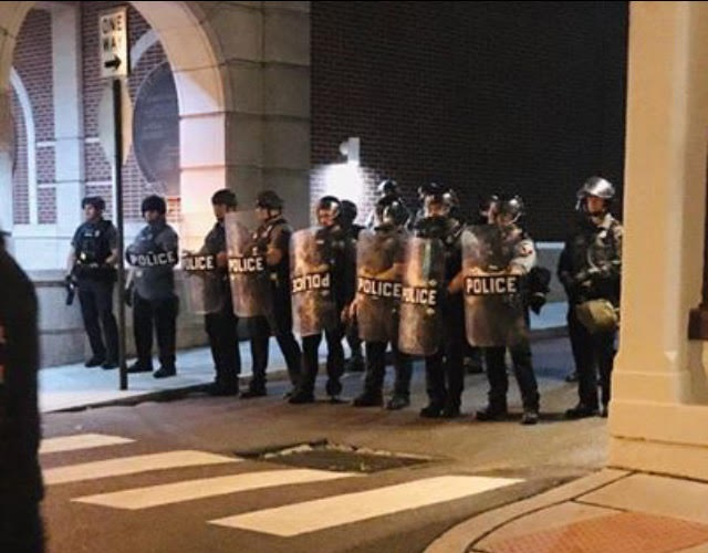 Police block the entrance to North Market Street next to the Lancaster City Police Station early Tuesday, June 2, 2020. (Source: TCP | The Cultured Professional)