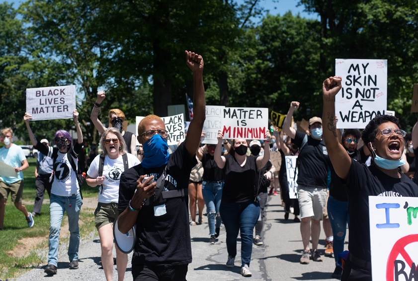 Protesters march in Quarryville on Saturday, June 13, 2020. (Shelby Wormley | We & Co.)