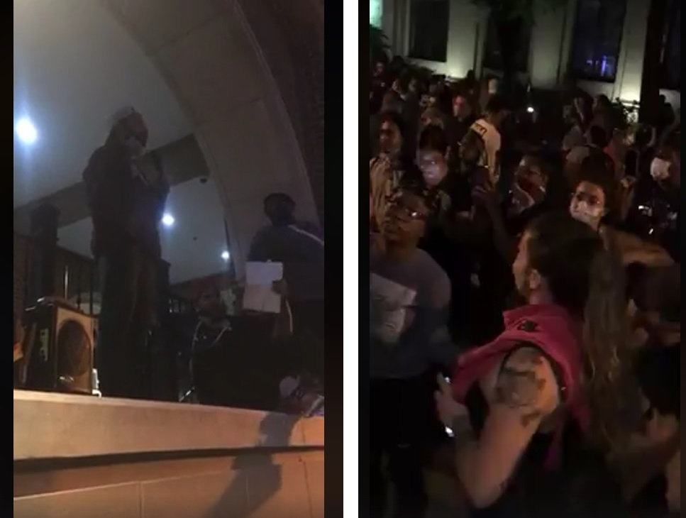 In these images taken from online videos, City Councilman Xavier Garcia-Molina, left photo, addresses the crowd, right, in front of Lancaster City Police Station on Monday night, June 1, 2020. (Souce: TCP | The Cultured Professional)