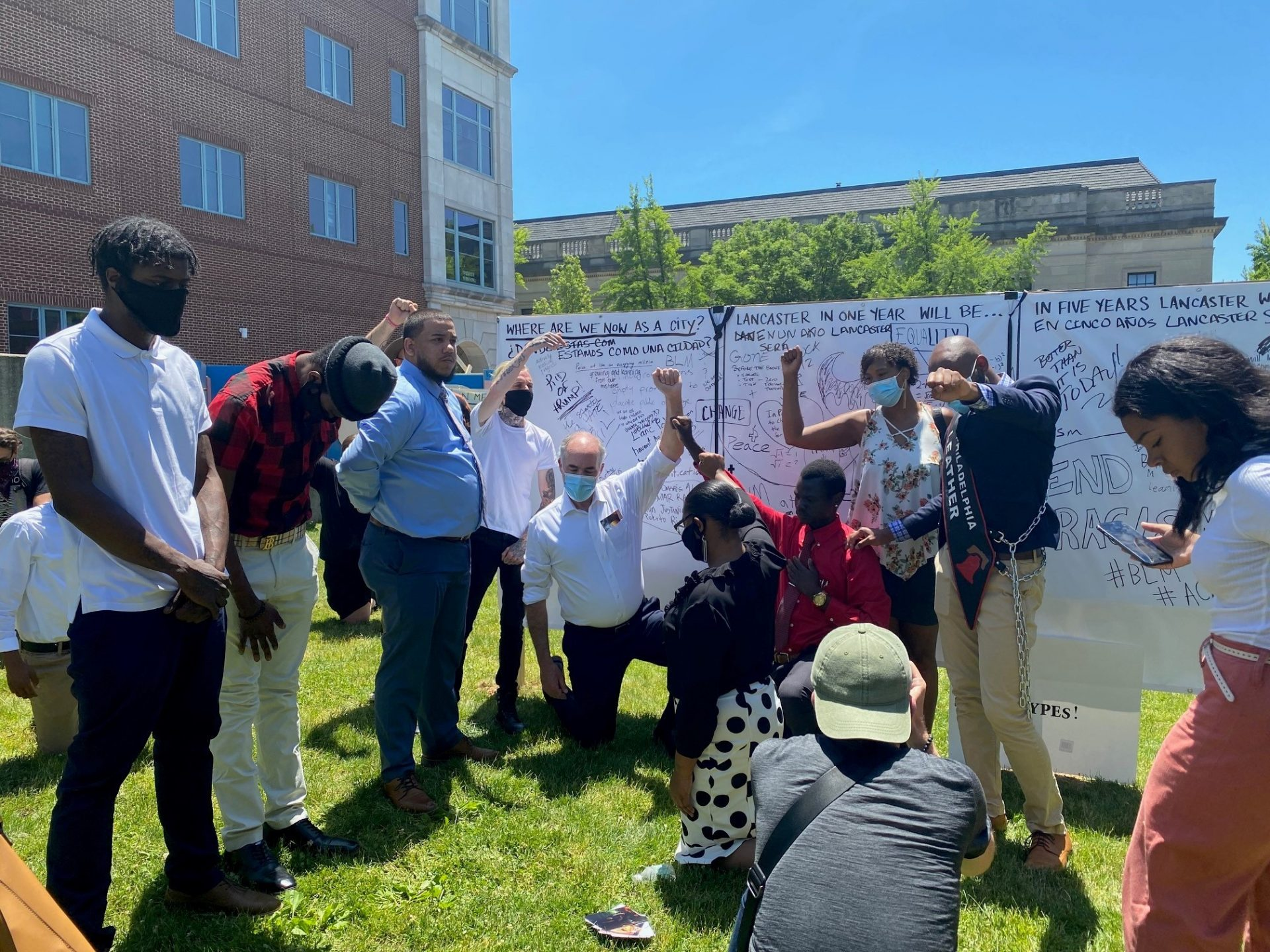 Sen. Bob Casey, D-Pa., kneels with protesters in Lancaster on Monday, June 8, 2020. (Source: Office of Sen. Casey)