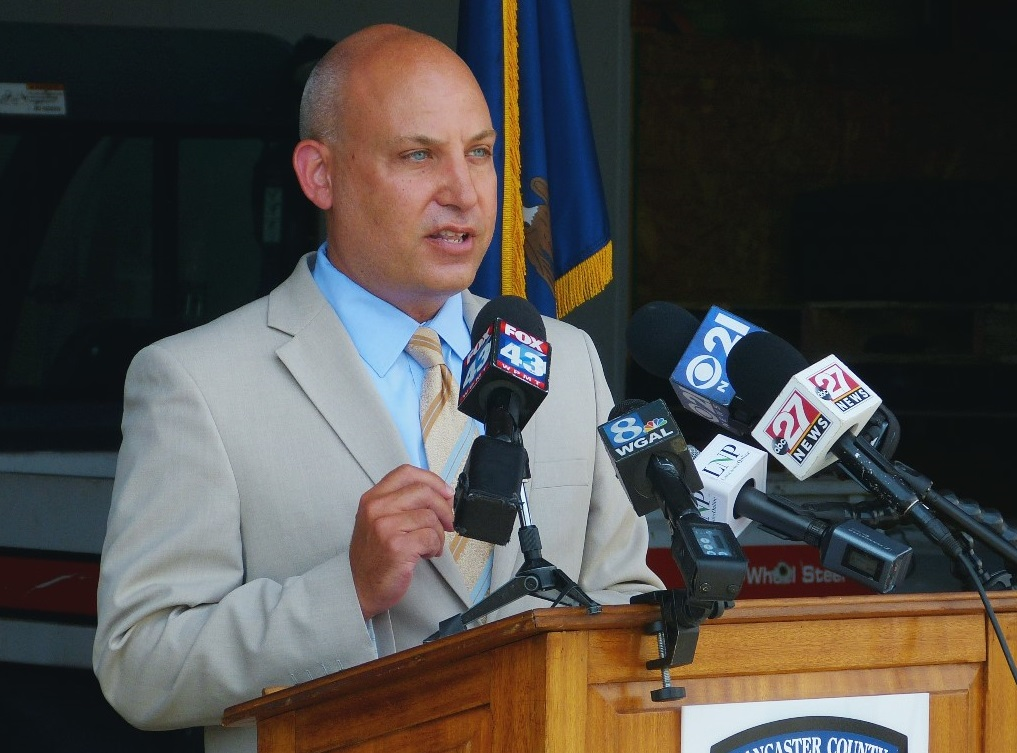 Dr. Michael Ripchinski, chief clinical officer, Penn Medicine Lancaster General Health, speaks at a media briefing at the county Public Safety Training Center on Thursday, July 30, 2020. (Photo: Tim Stuhldreher)