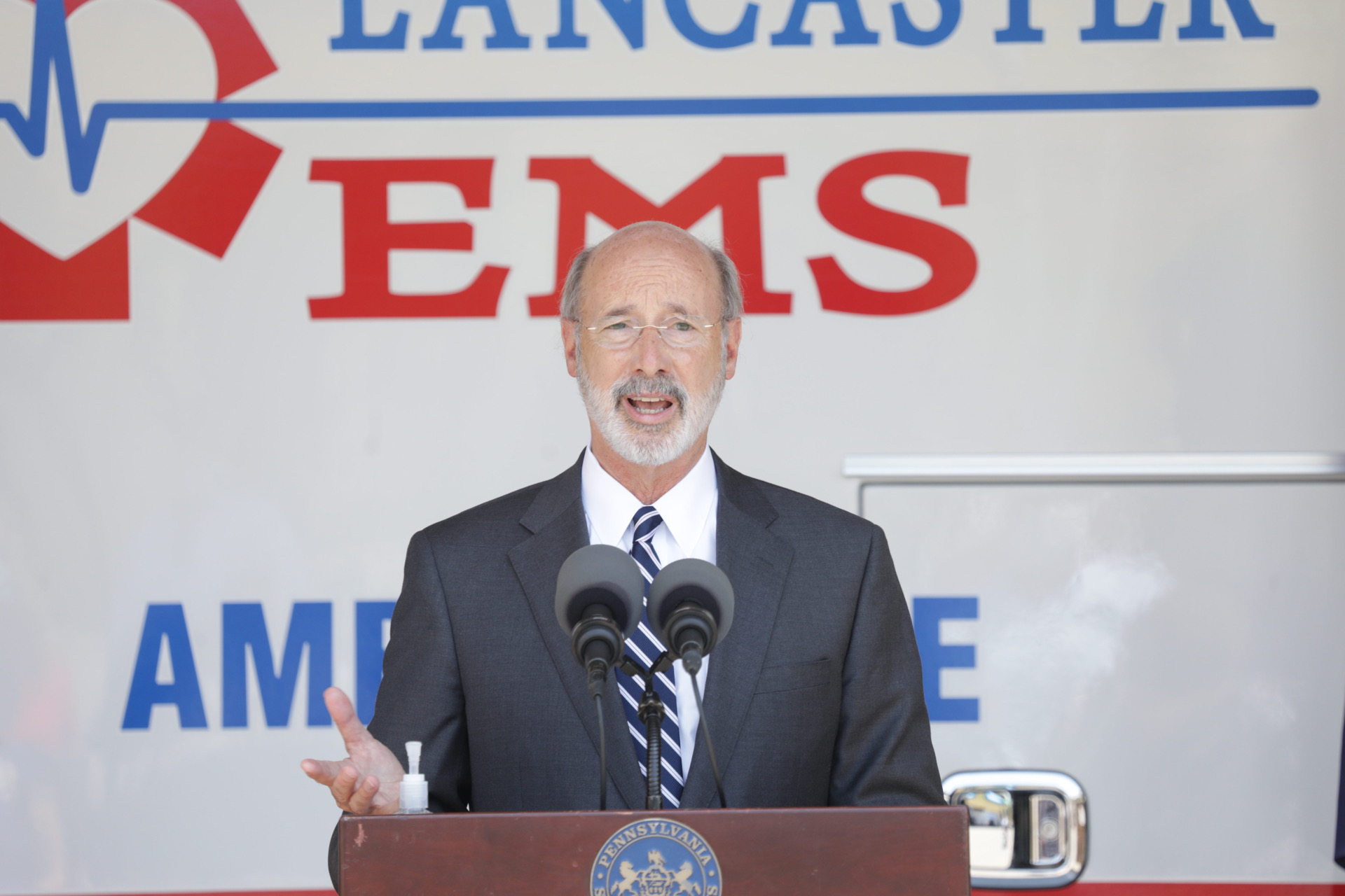 Gov. Tom Wolf speaks at the Millersville branch of Lancaster EMS on Thursday, July 30, 2020. (Source: Office of the Governor)
