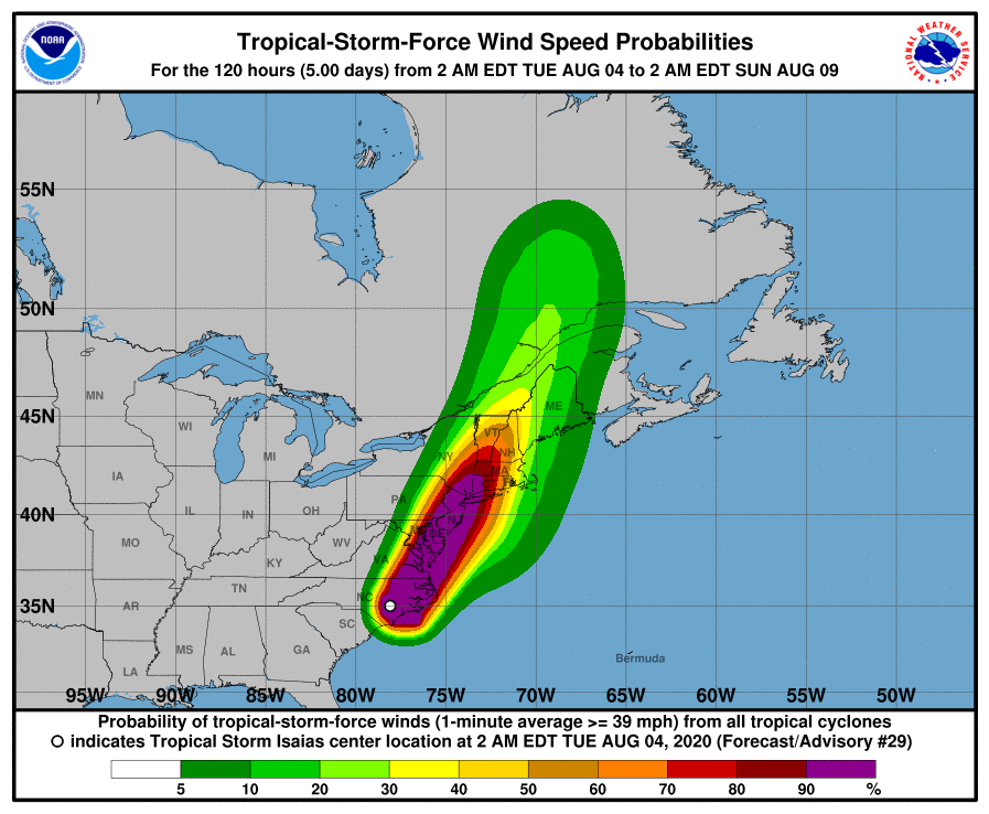Probability of high-speed wind gusts from Tropical Storm Isaias. (Source: National Weather Service)