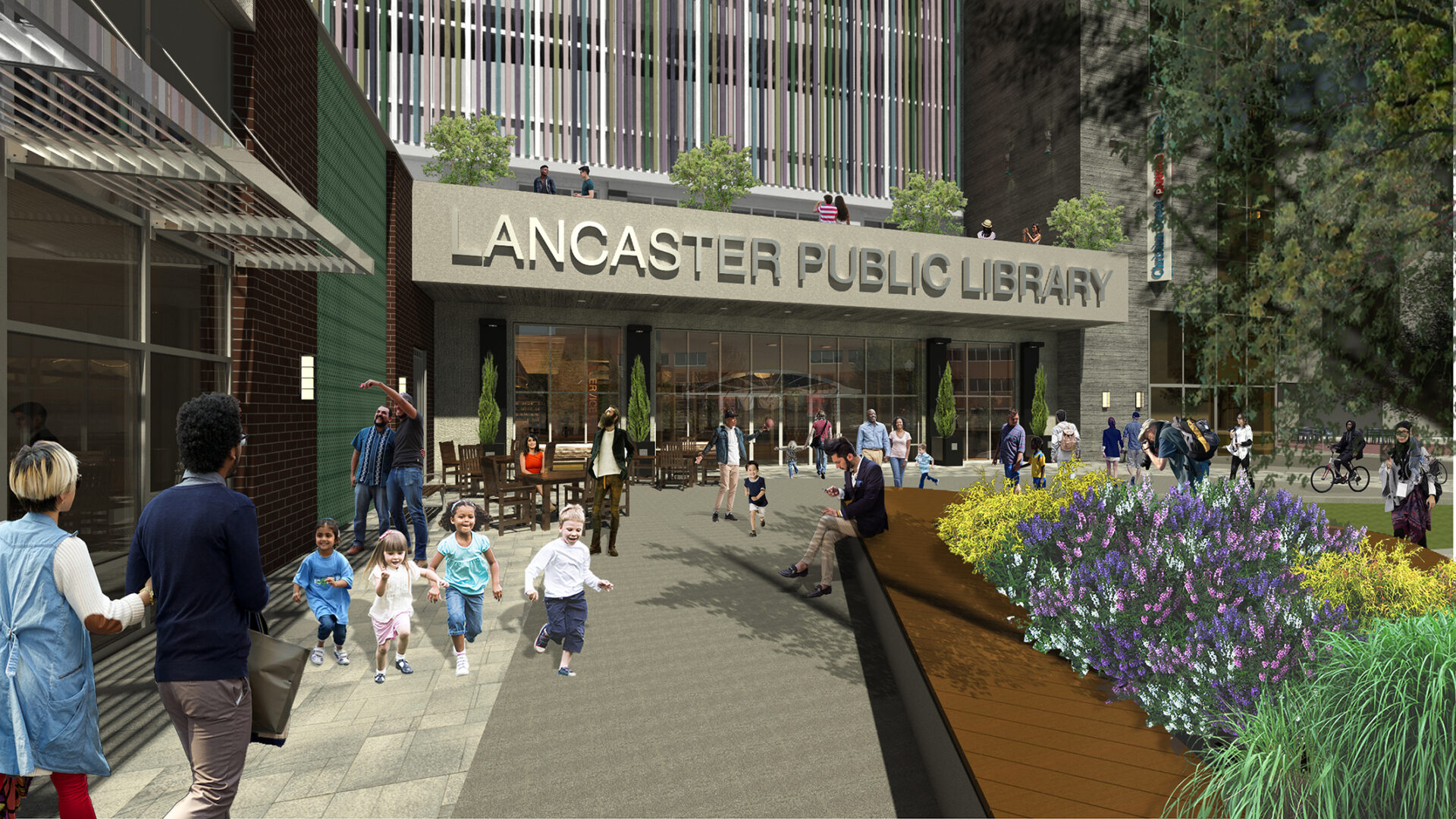 A rendering depicts the entrance of the Lancaster Public Library on Ewell Plaza, part of a redevelopment project that includes a public parking garage and a commercial building. (Source: Hammel Associates Architects)