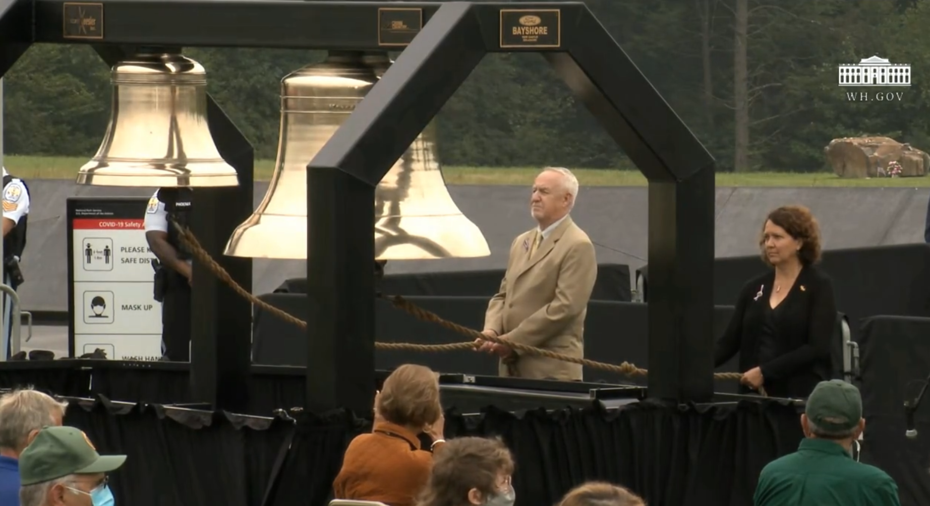 In this image taken from online video, a bell is tolled for victims of the Sept. 11, 2001, terrorist attacks during ceremonies in Shanksville, Pa., on Friday, Sept. 11, 2020. (Source: WhiteHouse.gov)