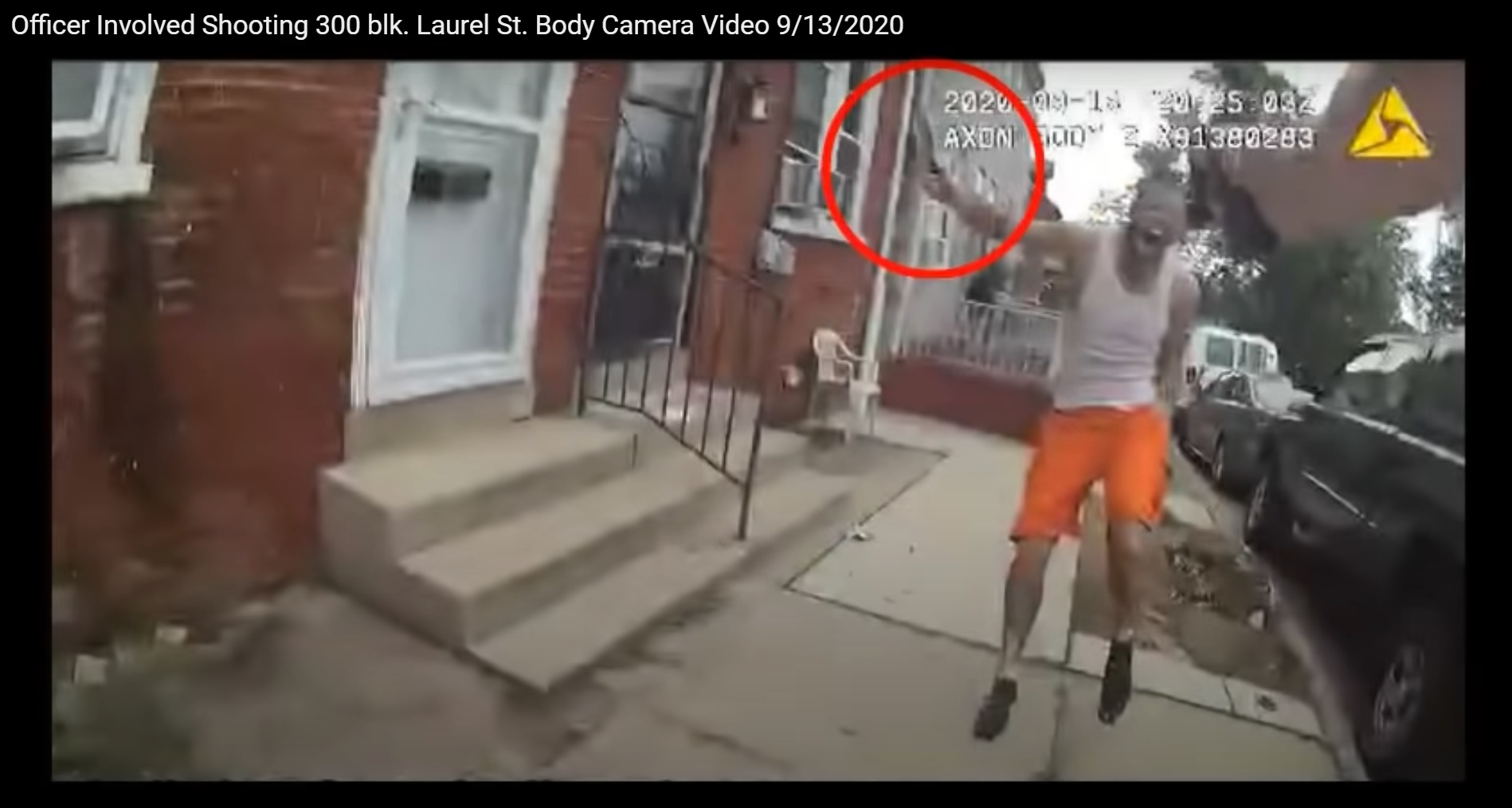 Ricardo Munoz is seen with a knife in this still image taken from bodycam video posted by the Lancaster City Police on Sunday, Sept. 13, 2020.