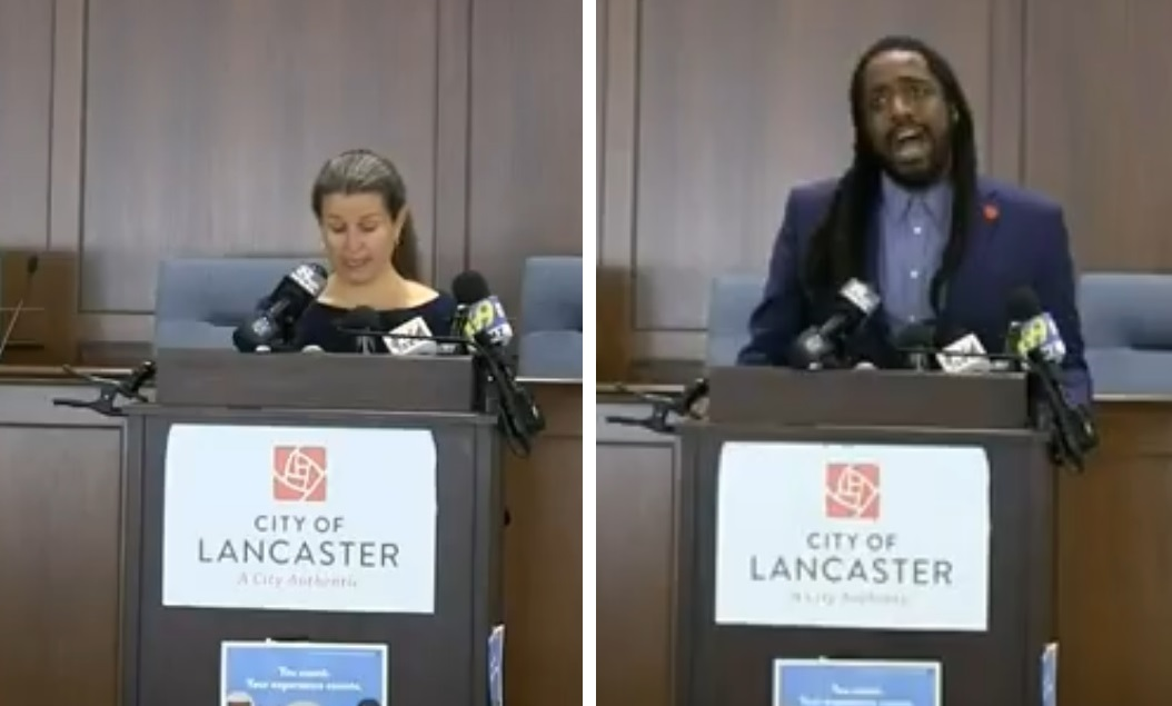 Lancaster Mayor Danene Sorace, left, and City Council President Ismail Smith-Wade-El speak during a press conference at City Hall on Monday, Sept. 14, 2020.