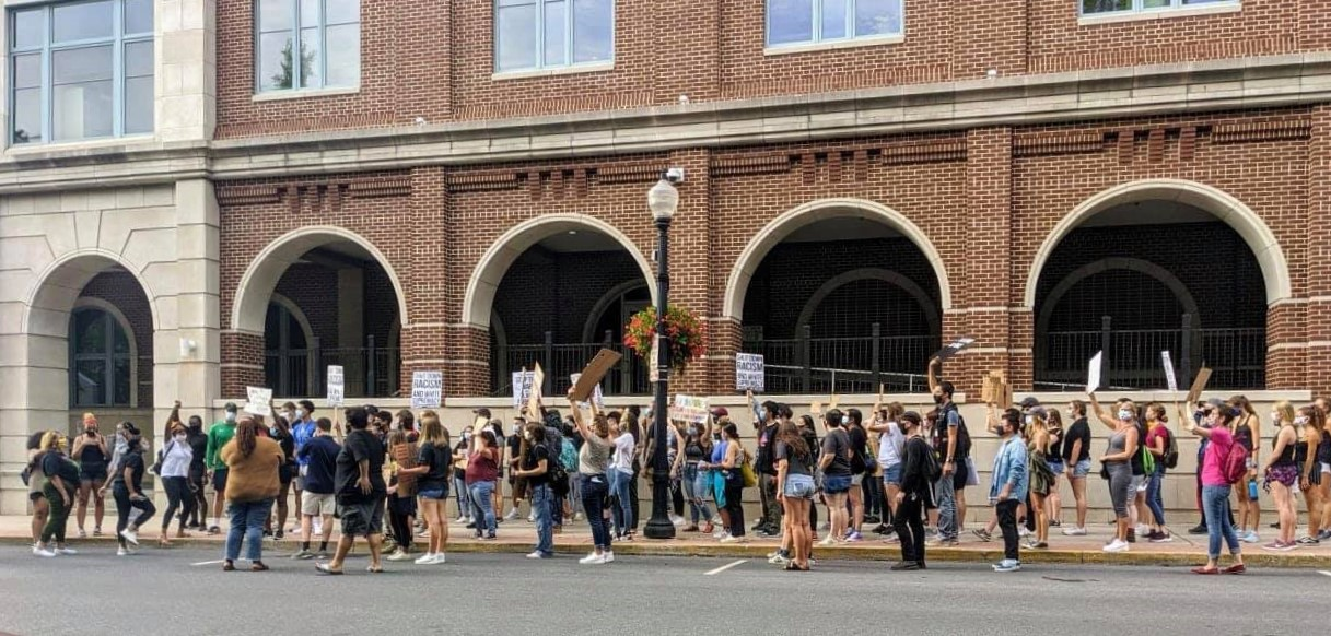 Protesters rally in front of the Lancaster city police station on Wednesday, Sept. 2, 2020. (Source: Lancaster Changemakers' Collective / Party for Socialism & Liberation)