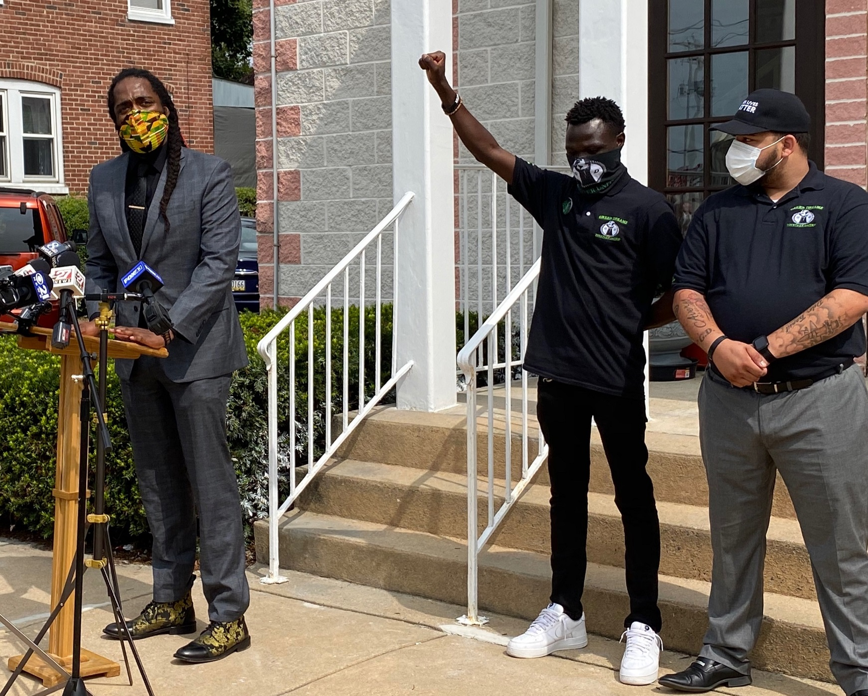 Lancaster City Council President Ismail Smith Wade-El, left, speaks to the media, accompanied by Alaak Deu, center, and Carlos Jimenez, both of Green Dreamz, on Thursday, Sept. 17, 2020. (Photo: Olivia Smucker)