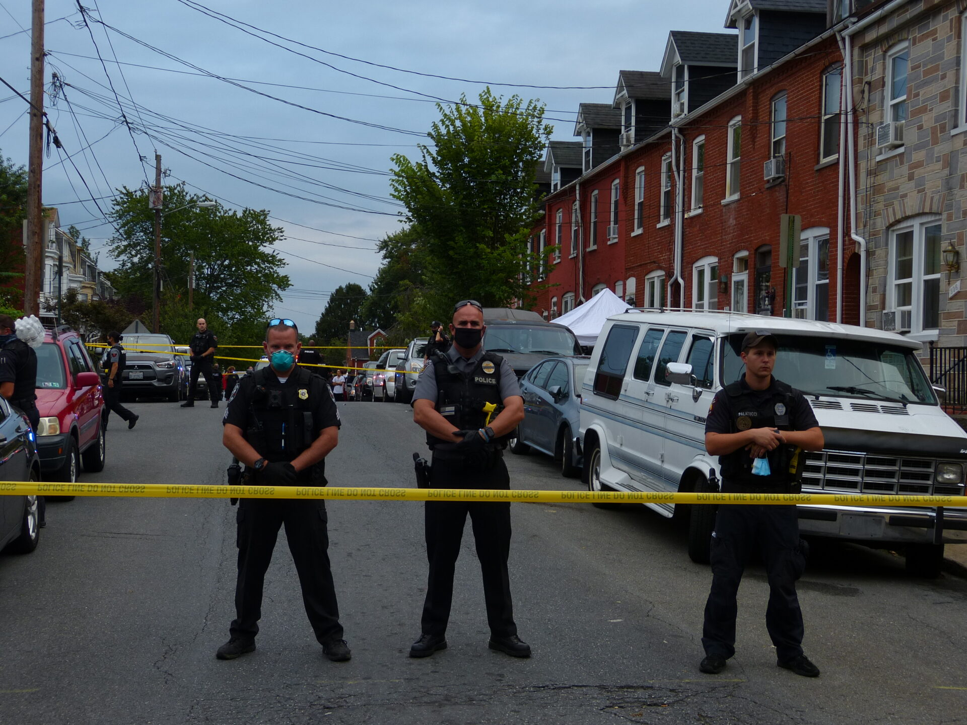 Police stand guard at the scene of an officer-involved shooting in the 300 block of Laurel Street on Sunday, Sept. 13, 2020. (Photo: Tim Stuhldreher)