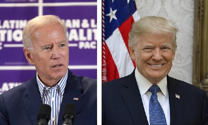 Former Vice President Joe Biden, left, and President Donald Trump.