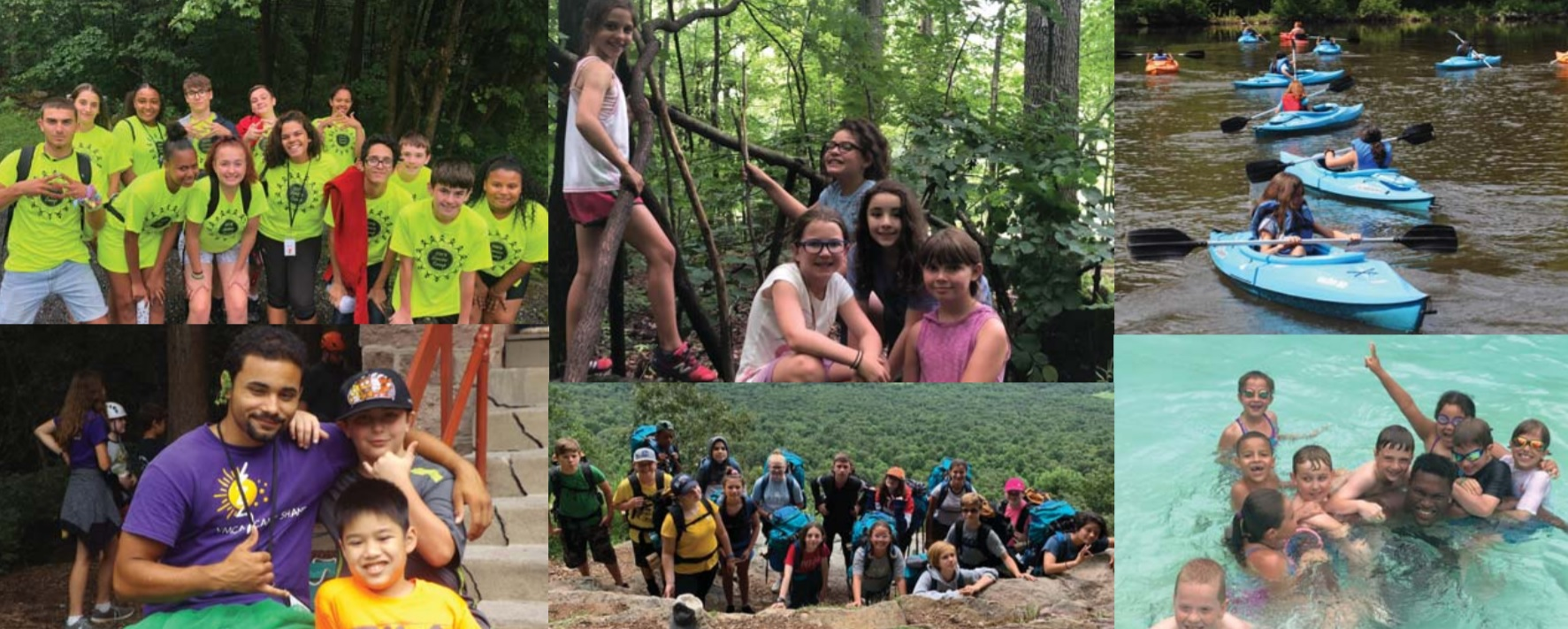 Campers enjoy an array of activities in this collage from Camp Shand's brochure. (Source: Lancaster Family YMCA)