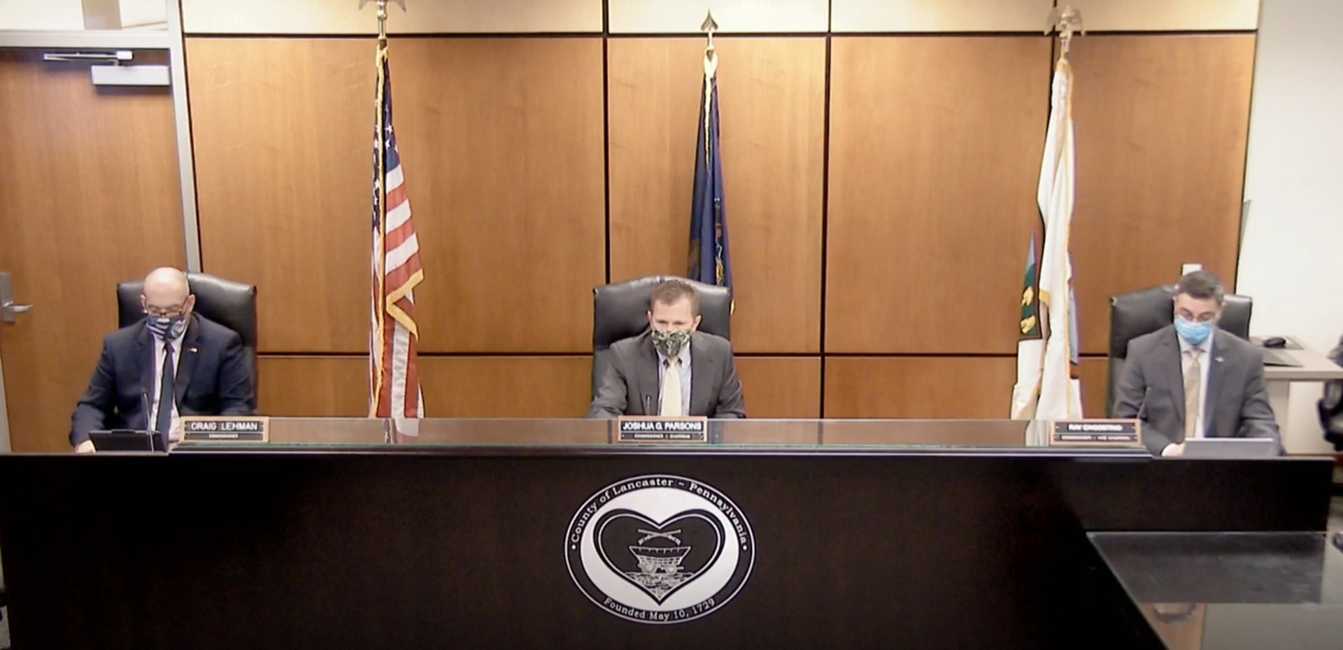 From left, Lancaster County Commissioners Craig Lehman, Josh Parsons and Ray D'Agostino are seen in an online livestream of their meeting Wednesday, Oct. 28, 2020.