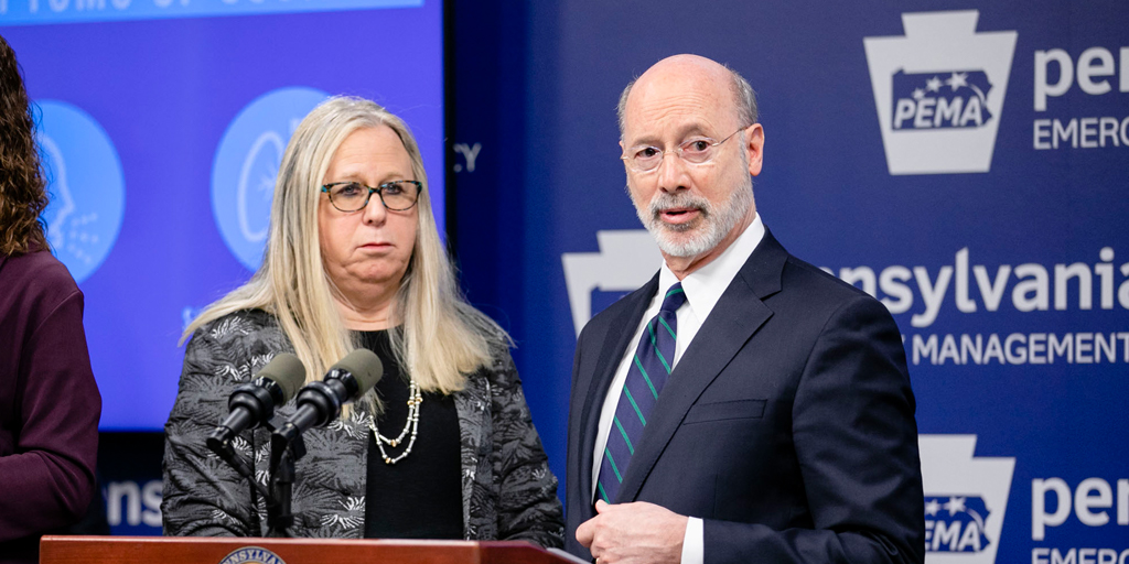 Governor Wolf and Dr. Rachel Levine, the Pennsylvania Secretary of Health. (Source: State of Pennsylvania)