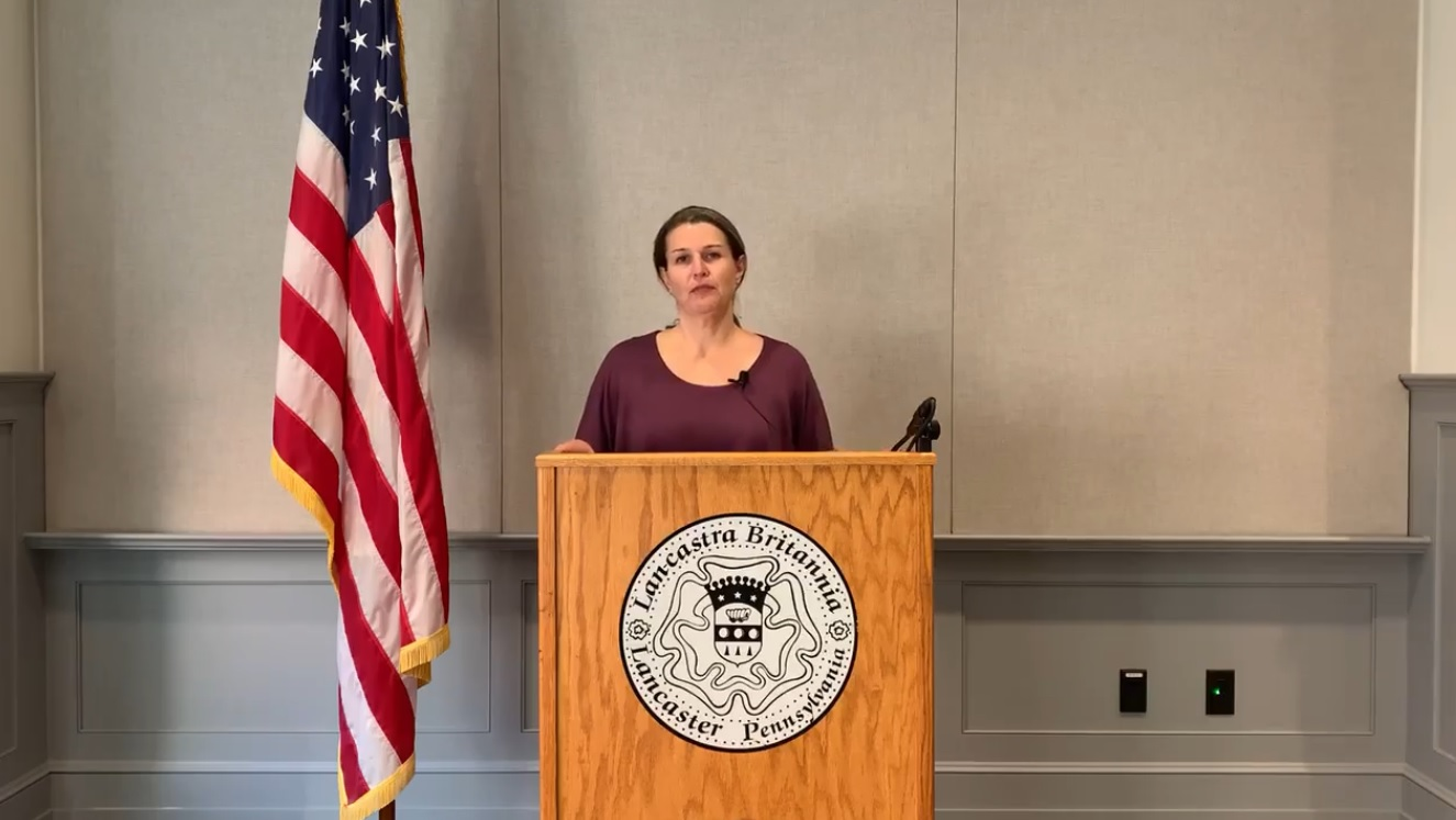 Lancaster Danene Sorace speaks about police Chief Jarrad Berkihiser's retirement in this image taken from online video on Thursday, Oct. 15, 2020. (Source: City of Lancaster)