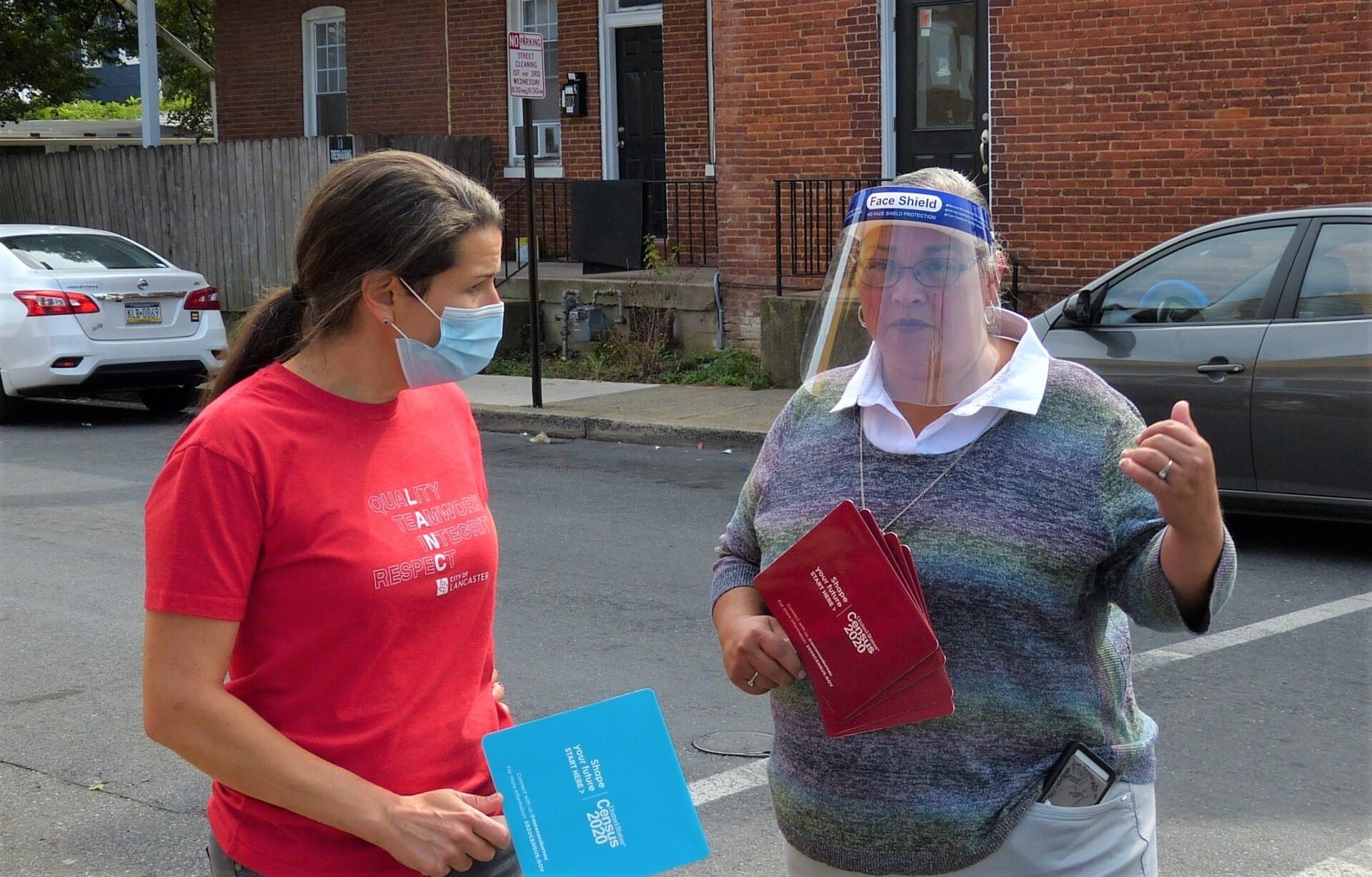 Lancaster Mayor Danene Sorace chats with volunteer Lori Pagan during a Census Emergency Day event at the corner of St. Joseph and New Dorwart streets in Lancaster on Friday, Sept. 25, 2020. (Photo: Tim Stuhldreher)