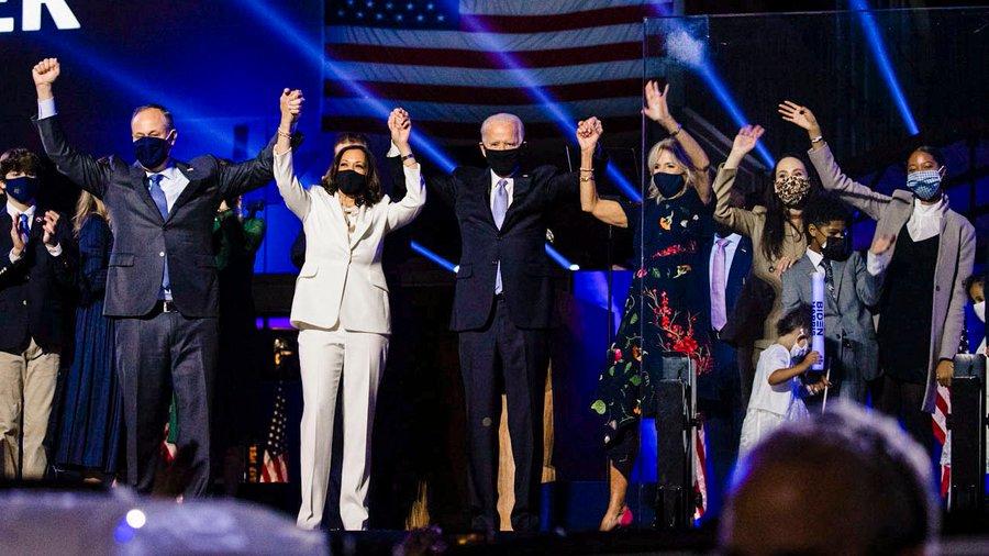 President-elect Joe Biden and VP-elect Kamala Harris celebrate their election win. (Source: @KamalaHarris)