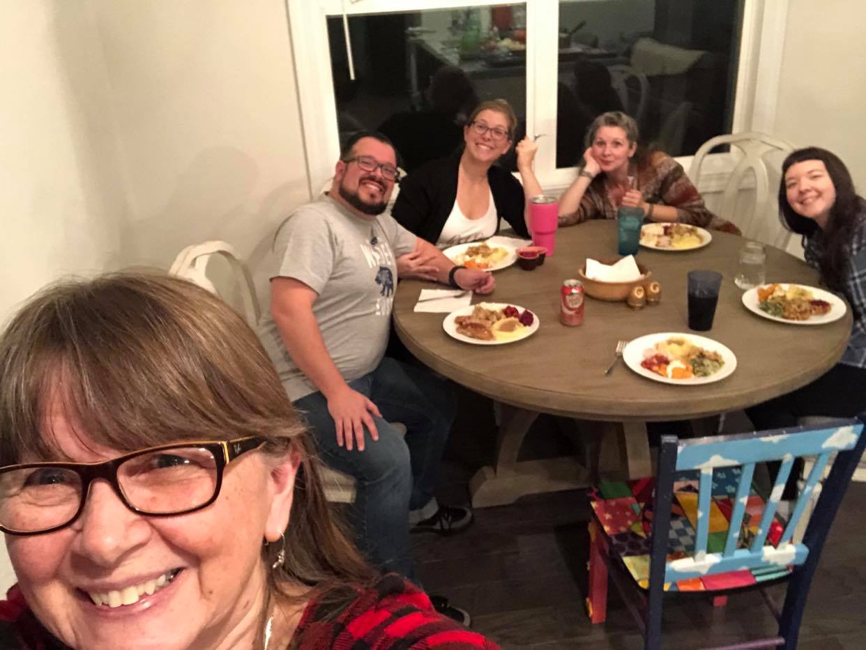 The Hutsell family's 2019 Thanksgiving dinner. From left, Heather's mother, Nancy, brother-in-law James, sister Sarah, Heather and sister Laura. (Source: Provided)