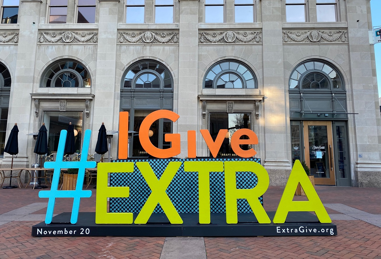 "A selfie-ready ""I Give Extra"" hashtag stands in Lancaster Square early on Extraordinary Give day, Friday, Nov. 20, 2020. (Photo: Olivia Spangler)"