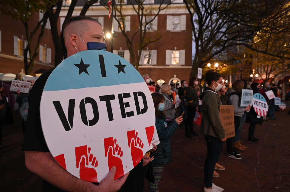 Demonstrators rally in Lancaster's Penn Square against President Trump's attempts to stop ballot counting on Wednesday, Nov. 4, 2020. (Source: Lancaster Stands Up)