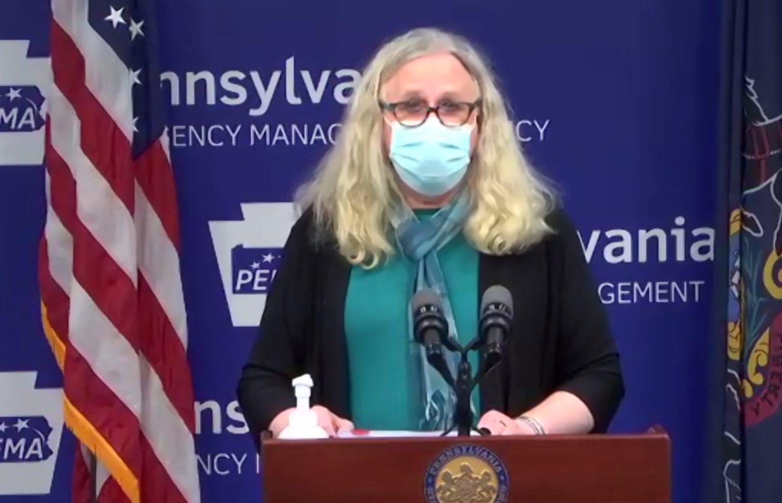 Pa. Health Secretary Dr. Rachel Levine speaks at a media briefing on Thursday, Nov. 19, 2020. Levine is wearing a mask in compliance with the stricter mask mandate she implemented this week.