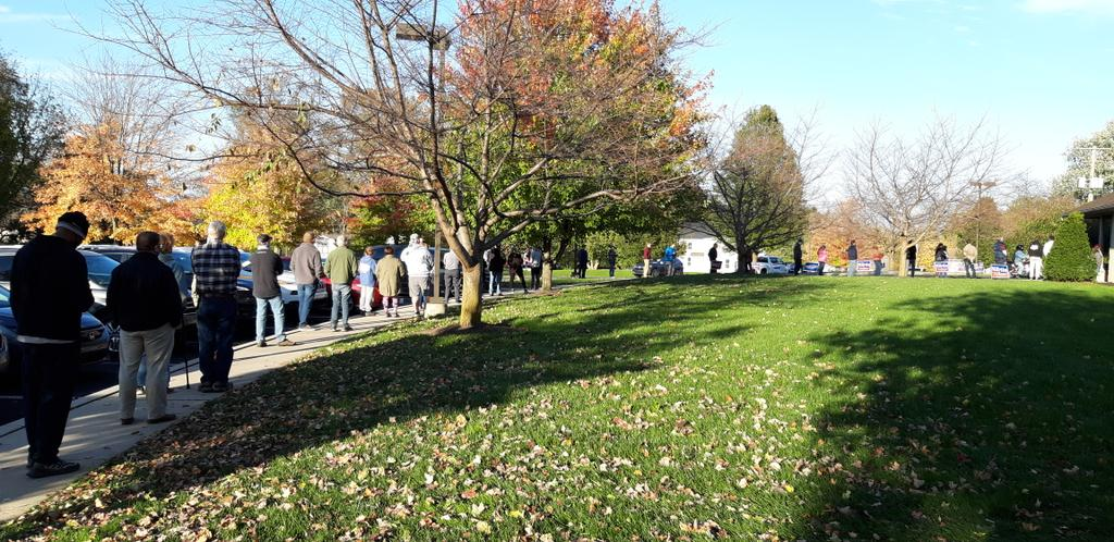 Voters stand in line at Mill Creek Bible Church, West Lampeter Township, on Election Day, Tuesday, Nov. 3, 2020. (Photo:  Tim Stuhldreher)