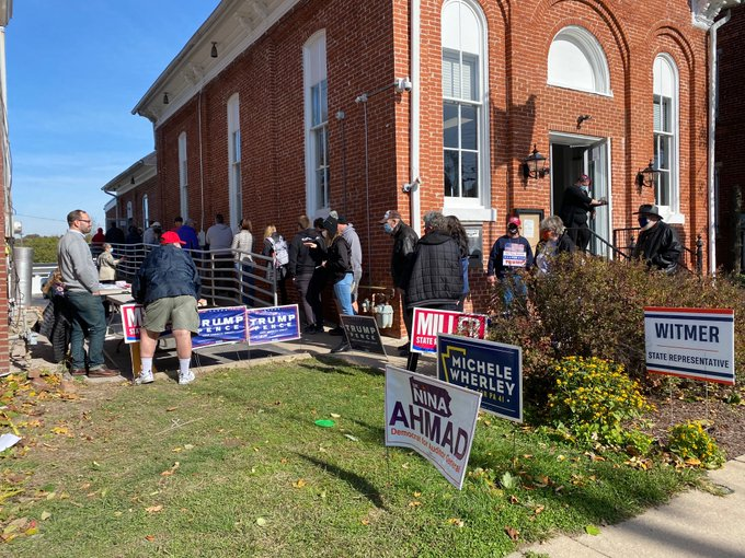 Voters line up outside Mountville Borough Hall on Election Day, Tuesday, Nov. 3, 2020. (Photo: Olivia Smucker)