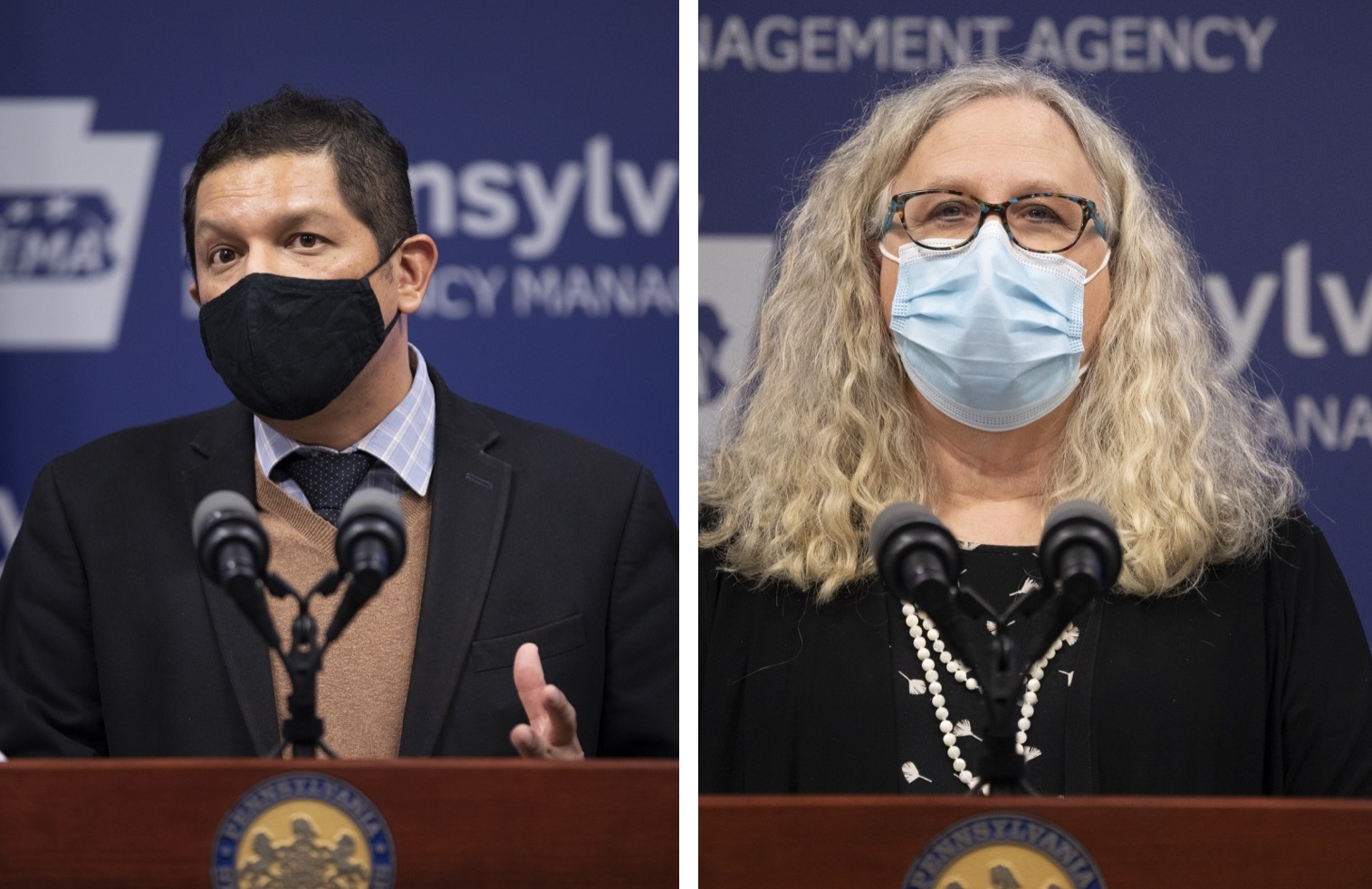 Acting Secretary of Education Noe Ortega , left, and Health Secretary Dr. Rachel Levine, right, speak at a virtual press conference on Monday, Nov. 30, 2020. (Source: Commonwealth of Pa.)