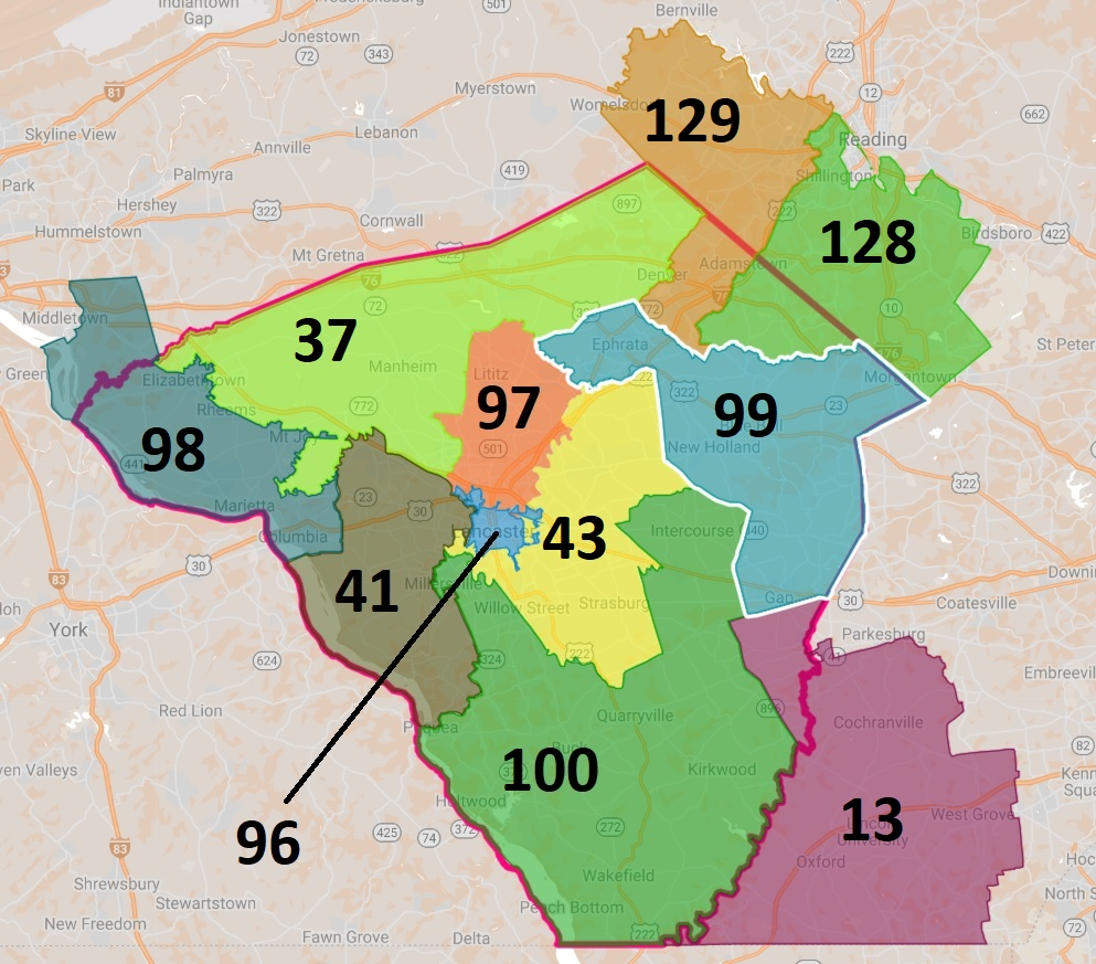 Lancaster County's state House districts. (Source: One United Lancaster | Fair Districts PA)