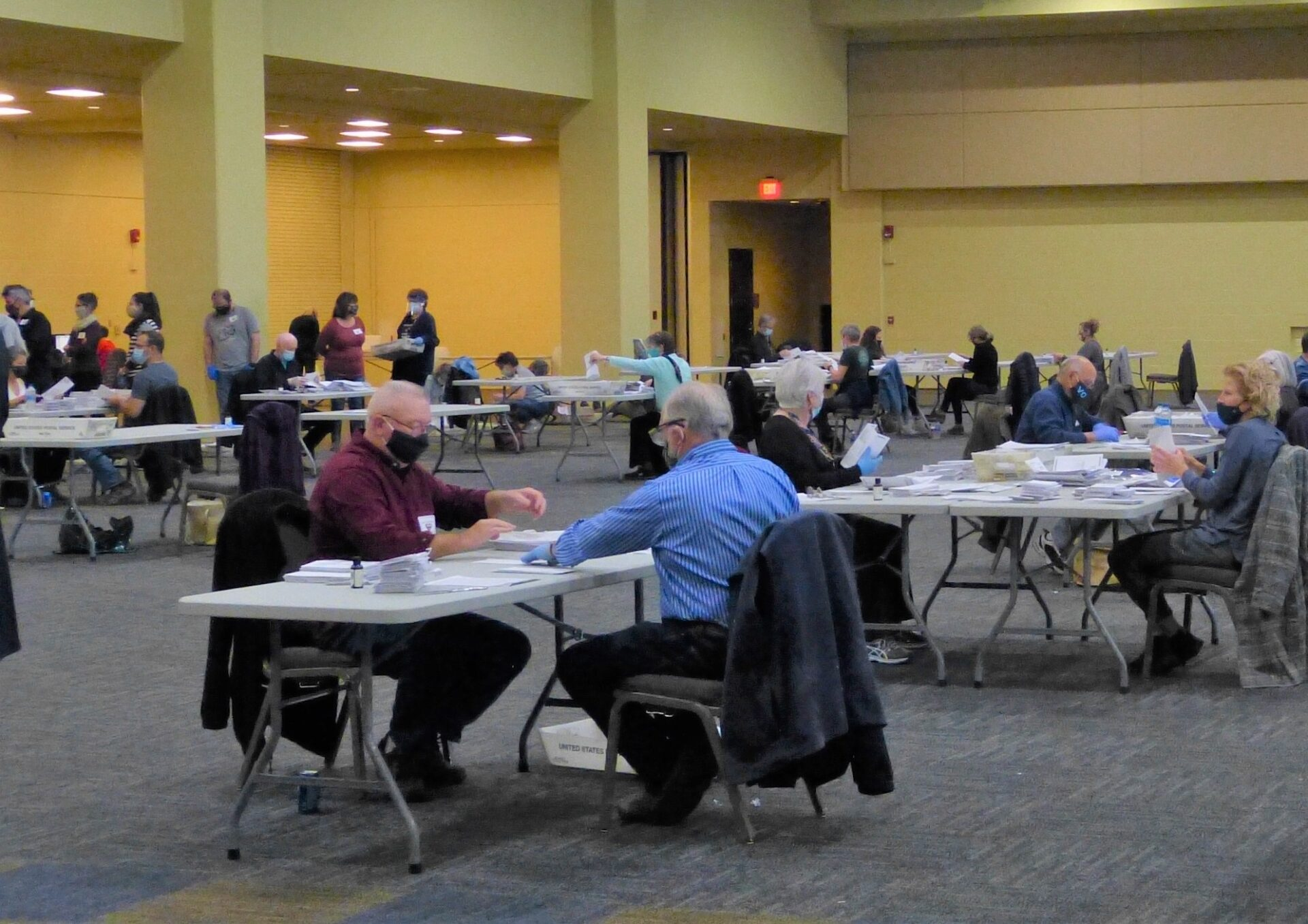 Volunteers open mail-in ballot envelopes and prepare ballots for scanning at the Lancaster County Convention Center on Election Day, Tuesday, Nov. 3, 2020. (Photo: Tim Stuhldreher)