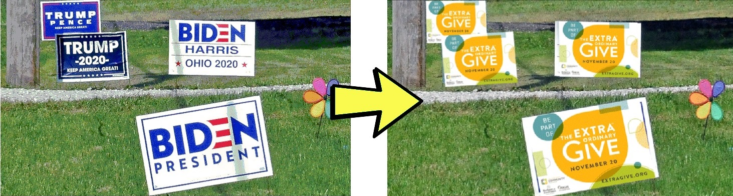 Transform your campaign yard sign with an ExtraGive sticker. (Source: ExtraGive.org)