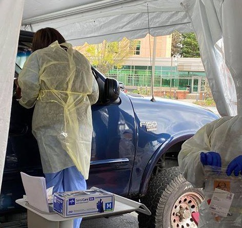 Penn Medicine Lancaster General Health employees administer Covid-19 tests at a drive-through site in this file photo from April 2020. (Source: LG Health)