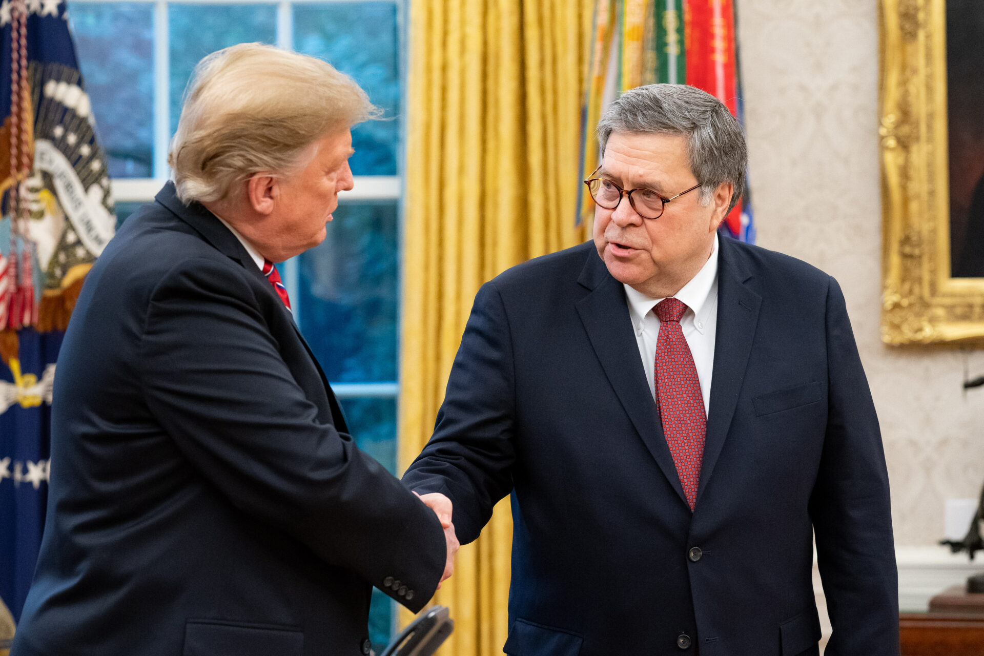 U.S. Attorney General Bill Barr (right), with President Trump.(Source: White House, Photo by Tia Dufour)