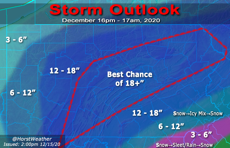 This map by meteorologist Eric Horst shows snowfall projections for the upcoming snowstorm. (Source: @HorstWeather)