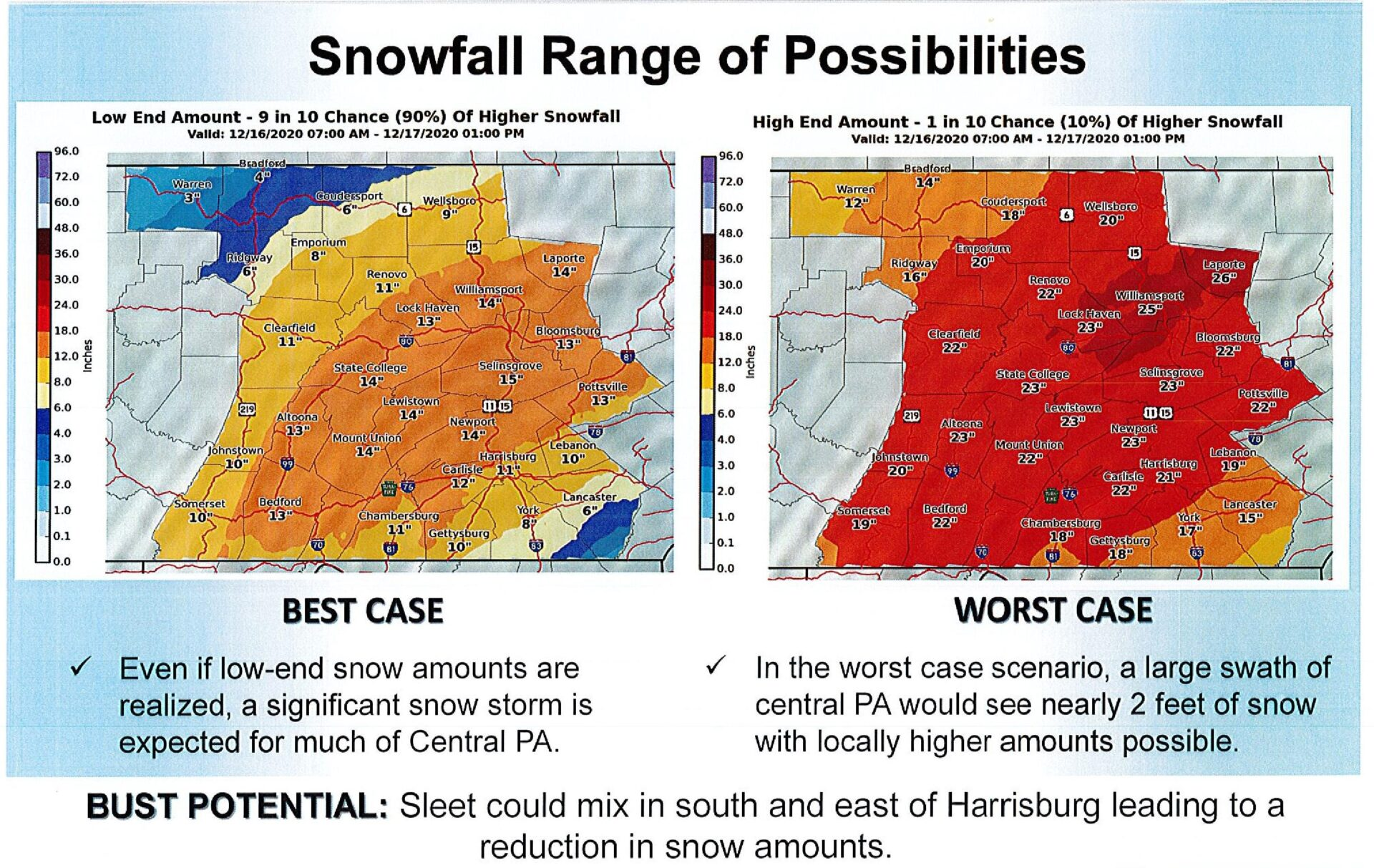 This National Weather Service map released Wednesday morning shows projected snowfall ranges.