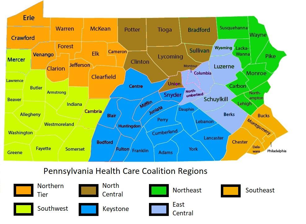 Pa Counties - Health regions
