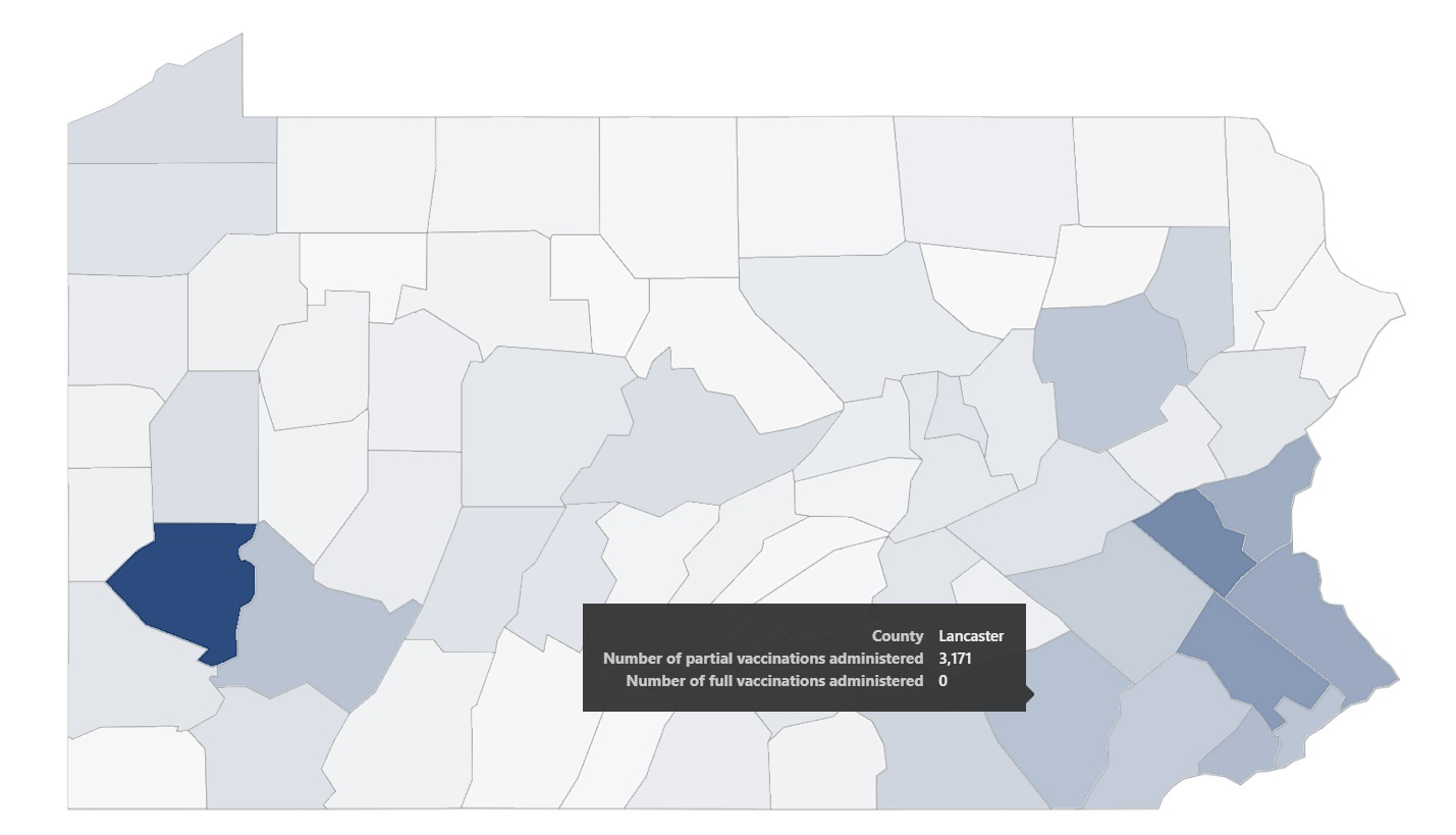 A screenshot of  the county map included in Pennsylvania's Covid-19 vaccine dashboard, taken Wednesday, Dec. 30, 2020.